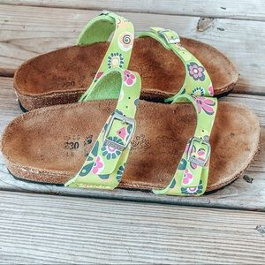 Lime green flower Birkenstock's
